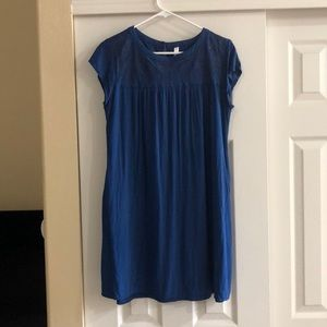 Blue Women's Dress with Embroidery